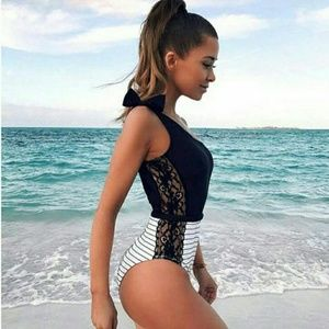 Other - One piece lace panel swimsuit Black white